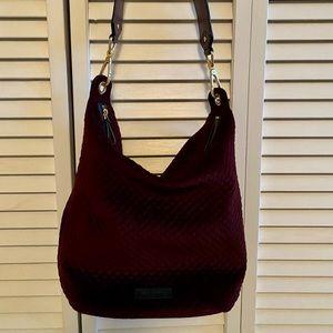 Vera Bradley quilted burgundy shoulder bag